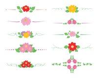 Blom- och lockiga avdelare med blommadahlior och gröna sidor - dekorativ vektoruppsättning stock illustrationer