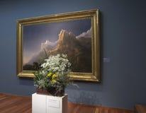 Blom- ordning och målning på buketter till den konstexhibitien 2018 Royaltyfria Bilder