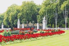 Blom- ordningar framme av Buckingham Palace Royaltyfria Foton