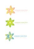 Blom- organisk eller brunnsortlogo i åtskilliga färger Royaltyfri Fotografi