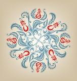 Blom- orientalisk mandaladesign Arkivbilder