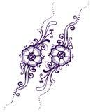 Blom- Paisley henna Royaltyfri Bild