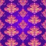 Blom- paisley inspirerade den färgrika utsmyckade sömlösa modellen för den indiska vektorn Retro bakgrund för dekorativ stil, uts royaltyfri illustrationer