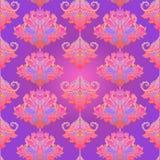 Blom- paisley inspirerade den färgrika utsmyckade sömlösa modellen för den indiska vektorn Retro bakgrund för dekorativ stil, uts vektor illustrationer