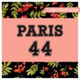 Blom- Paris för höstT-tröja diagram Bakgrund för nedgångnaturlopp royaltyfri illustrationer