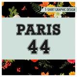 Blom- Paris för T-tröja diagram med lönnlöv och blommor Bakgrund för nedgångnaturlopp royaltyfri illustrationer