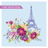 Blom- Paris för T-tröja grafisk design stock illustrationer