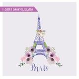 Blom- Paris grafisk design stock illustrationer