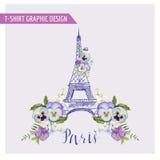 Blom- Paris grafisk design royaltyfri illustrationer