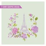 Blom- Paris grafisk design - för t-skjorta stock illustrationer
