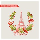 Blom- Paris grafisk design - för T-tröja, mode, bakgrund vektor illustrationer