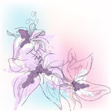 blom- pastell royaltyfri illustrationer