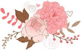 Blom- pionbukett Fotografering för Bildbyråer