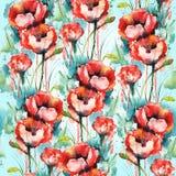 Blom- prydnad för bakgrund av vallmo vektor illustrationer