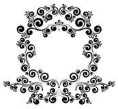 Blom- prydnad för barock ramgränsmonogram royaltyfri illustrationer