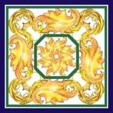 Blom- prydnad för guld- monogram Uppsättning för vattenfärgbakgrundsillustration för designmodell för bakgrund färgrik swirl royaltyfria bilder