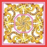 Blom- prydnad för guld- monogram Uppsättning för vattenfärgbakgrundsillustration för designmodell för bakgrund färgrik swirl arkivfoto