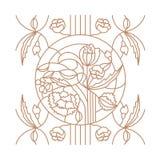 Blom- prydnad för målat glassfönster i den moderna stilen royaltyfri illustrationer