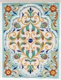 Blom- prydnad för traditionell ryss på tegelplattor arkivbilder