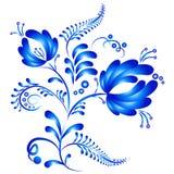 Blom- prydnad i Gzhel stil Rysk folklore stock illustrationer