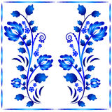 Blom- prydnad i Gzhel stil Två stammar med blommor i ram Rysk folklore Royaltyfri Bild
