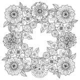 blom- prydnad Konst av mandalastil Zentangle Royaltyfri Foto