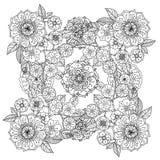 blom- prydnad Konst av mandalastil Zentangle stock illustrationer