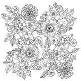 blom- prydnad Konst av mandalastil Zentangle Arkivbild