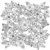 blom- prydnad Konst av mandalastil Zentangle royaltyfri illustrationer