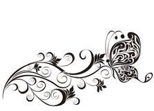 Blom- prydnad med fjärilen vektor illustrationer