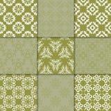 Blom- prydnader för olivgrön gräsplan samlingen mönsan seamless