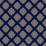 blom- prydnadtappning för dekorativa element Blått och guld- sömlösa modeller för tyg och tapet stock illustrationer