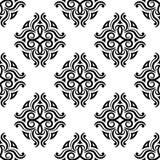 blom- prydnadtappning för dekorativa element Svartvita sömlösa modeller för tyg och tapet royaltyfri illustrationer