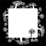 blom- ram för dekorativa element Kontur av en skog Royaltyfri Foto