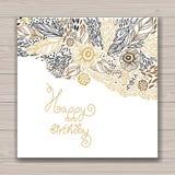 Blom- ram för lycklig födelsedag Arkivbilder