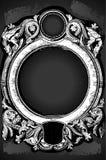 Blom- ram för tappning med drakar på svart tavla Royaltyfri Bild