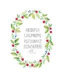 Blom- ram för vattenfärg med alfabet vektor royaltyfri illustrationer