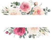 Blom- ram för vattenfärg med rosor och eukalyptuns vektor illustrationer