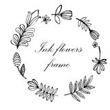Blom- ram hand-dragen illustration Arkivbilder