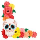 Blom- ram med den gulliga skallen och ros och hibiskus royaltyfri illustrationer