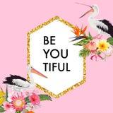 Blom- ram med exotiska fåglar för beröm, bröllop, hälsningar Vändkretskortmall med pelikan och blommor Royaltyfri Bild