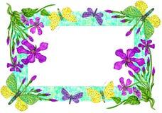 Blom- ram med fjärilar för inbjudan, vattenfärgillustration royaltyfri illustrationer