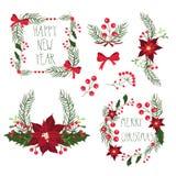 Blom- ramar för jul semestrar kort med blommor och bär också vektor för coreldrawillustration vektor illustrationer