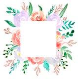 Blom- ramgr?ns f?r vattenf?rg - blommaillustration f?r att gifta sig, ?rsdag, f?delsedag, inbjudningar, romantiska h?ndelser vektor illustrationer