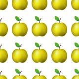 blom- ramlutningilustration ingen vektor Realistiskt gult äpple för sömlös modell på vit bakgrundsgarnering stock illustrationer