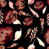 Blom- repetitionmodell för vattenfärg Kan användas som ett tryck för tyg, bakgrund för att gifta sig inbjudan Royaltyfri Fotografi