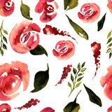 Blom- repetitionmodell för vattenfärg Kan användas som ett tryck för tyg, bakgrund för att gifta sig inbjudan Arkivfoto