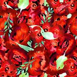 Blom- repetitionmodell för vattenfärg Kan användas som ett tryck för tyg, bakgrund för att gifta sig inbjudan royaltyfria bilder
