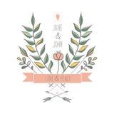 Blom- retro bröllopinbjudan Arkivfoto