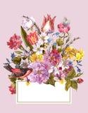 Blom- Retro kort för vår i tappningstil Royaltyfri Fotografi